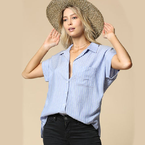 By Together | Striped Blue Button Down Top