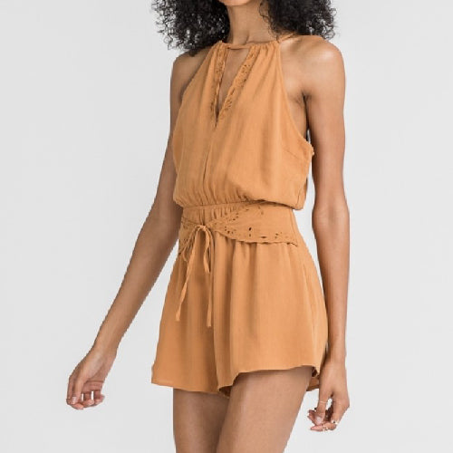 LUSH | MUSTARD ROMPER WITH EMBROIDERY