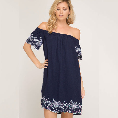 She+Sky | BLUE EMBROIDERED OFF THE SHOULDER WOVEN DRESS