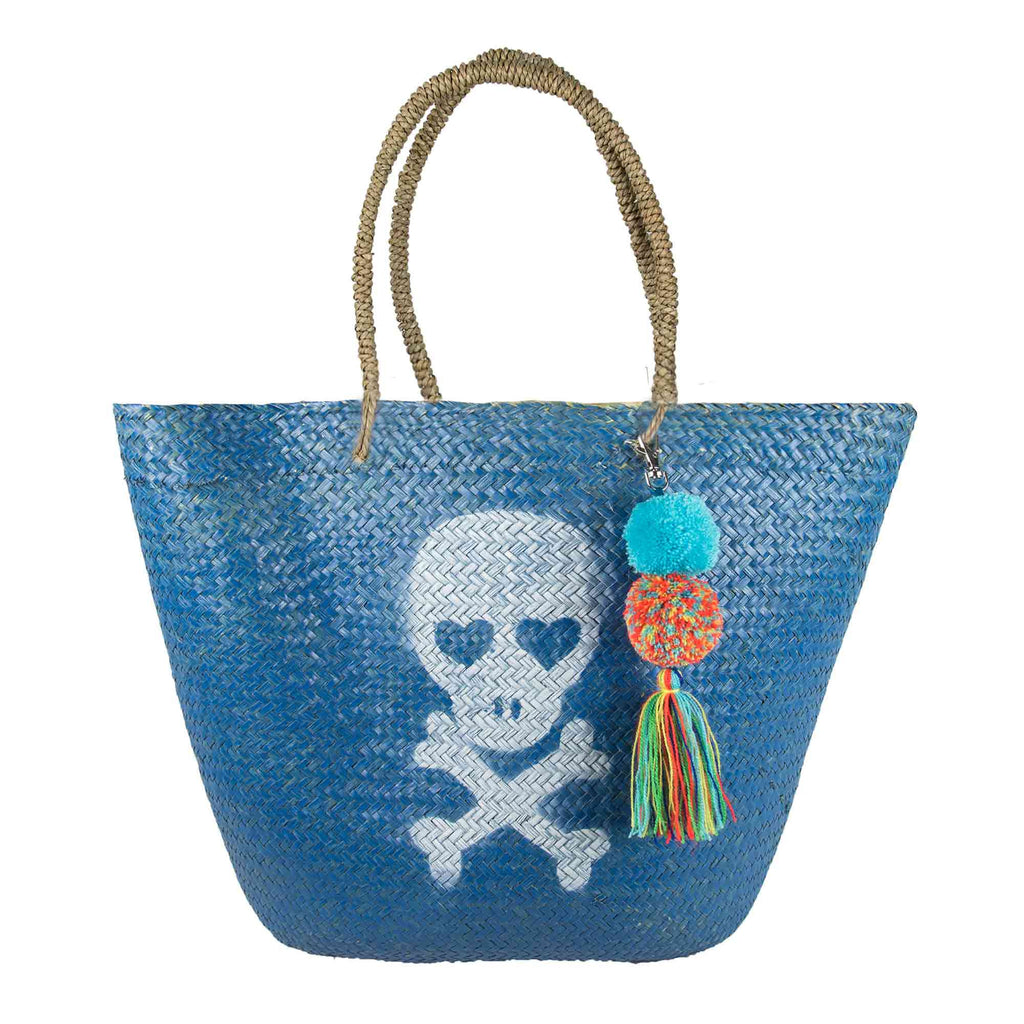 BOLSO DE PLAYA BLUE SKULL