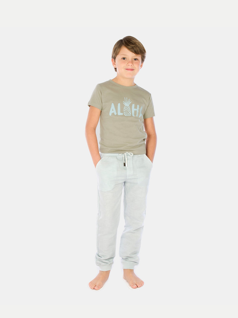 Pantalón De Lino Light Blue Niño