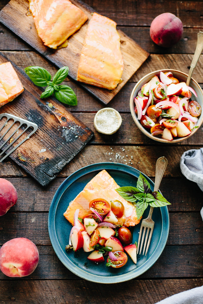 Cedar-Planked Wild Salmon with Peach + Tomato Salsa from Coley Cooks