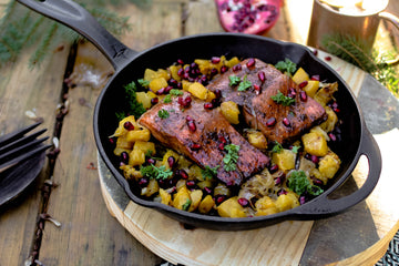 Emma's Molasses-Ginger Salmon with Roasted Acorn Squash & Pomegranate