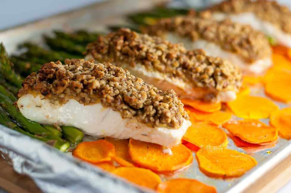 Maple Walnut Crusted Sheet Pan Halibut