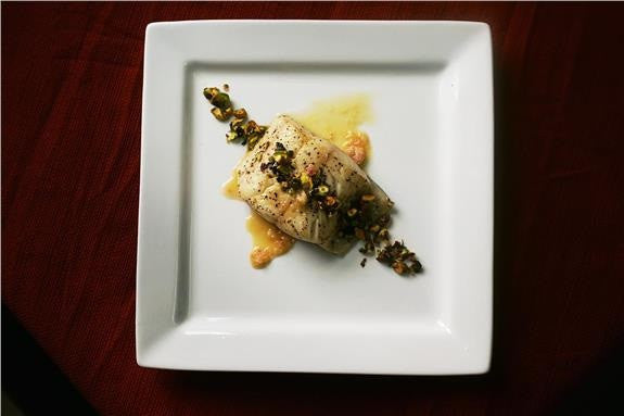 Pan Roasted Black Cod with Lemon Pistachio Picada