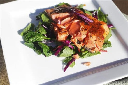 Grilled Salmon on Spring Greens with Peach-Ginger Sauce