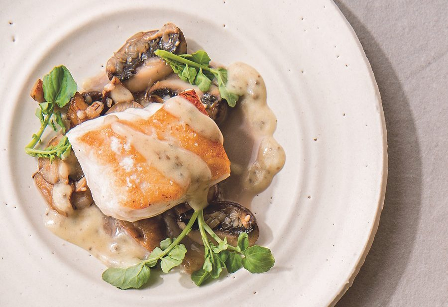 Edible: Lingcod with Mushrooms and Black Truffle Vinaigrette