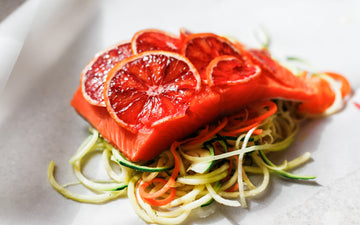 Citrusy Salmon Packets with Zoodles and Cilantro Chutney from Annie Fenn