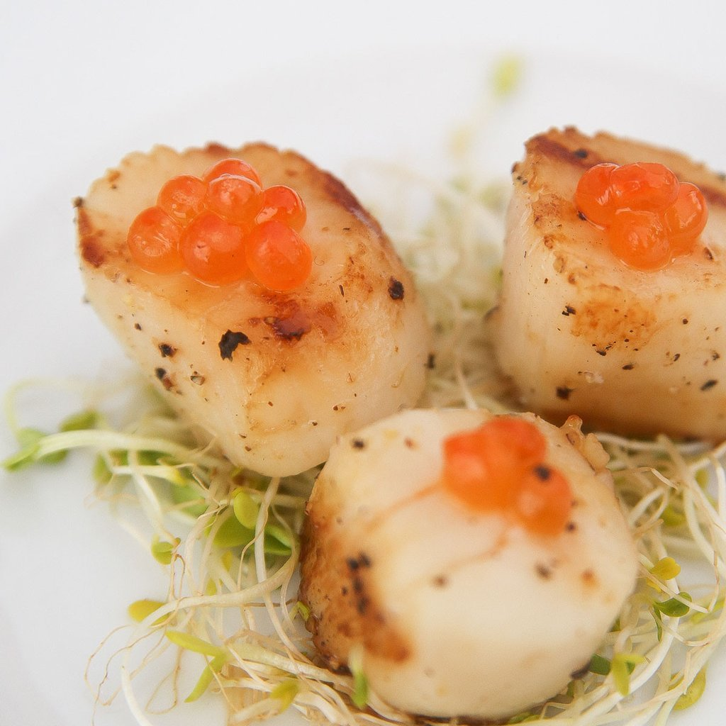 Scallops, Ikura, Ginger Lime Sauce