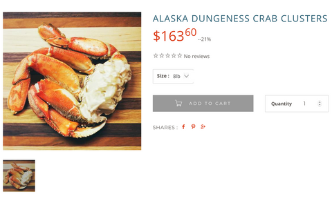 wild for salmon dungenness crab product