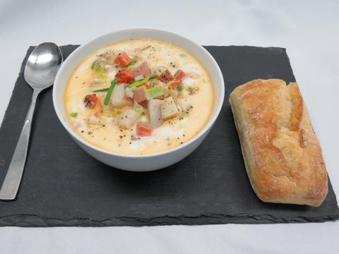 Smoked Salmon and potato leek soup