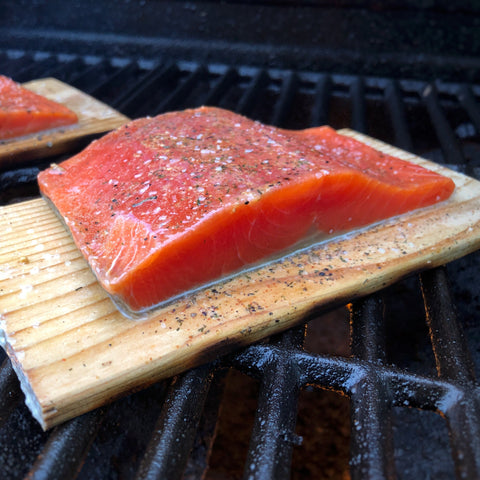 Seasoned Sockeye Portion on Cedar Plank
