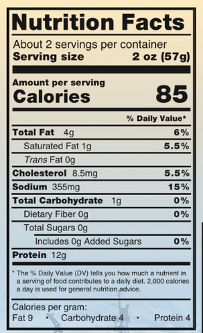 Traditional Smoked King Salmon Nutrition Facts
