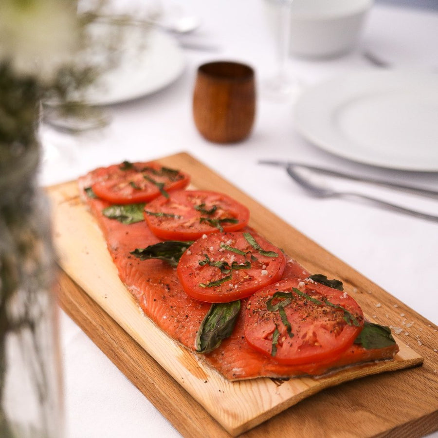 Wild Caught Sockeye Salmon Fillet with tomato basil topping