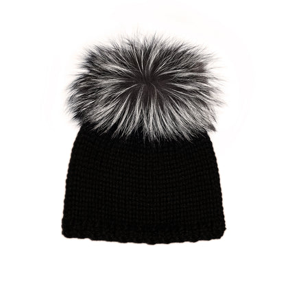 Black Alpaca with Silver Fox Fur Puff