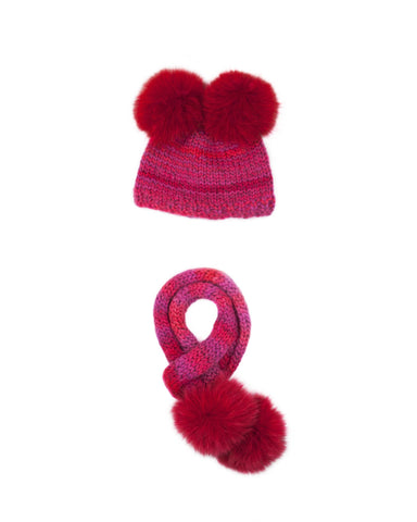 Poppy Double Pompom Hat and Scarf Set