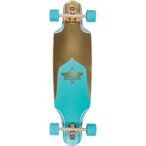 Duster Channel Prism Complete Longboard 9.12x34 - Gold/Turquoise