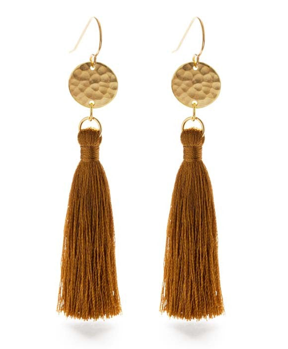 "Amano Trading Inc. Hammered Gold Disk 2"" Tassel Earrings - Tierra"