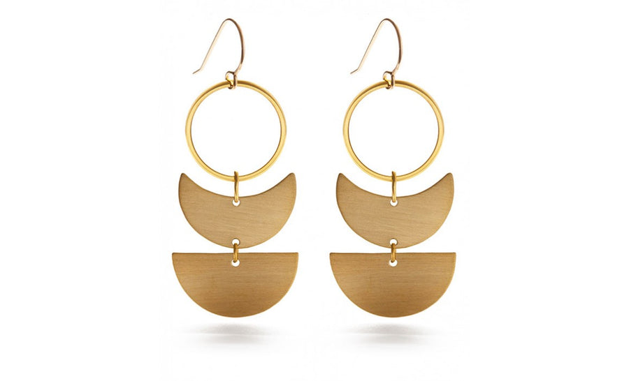 Amano Trading Inc. Lunar Geometric Earrings