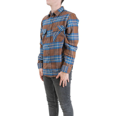 Brixton Bowery Long Sleeve Flannel - Washed Brown/Mineral Blue