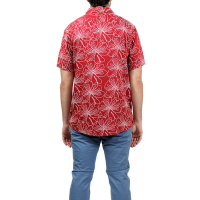 RVCA Blind Floral Button-Up Shirt - Brick Red (BRK)