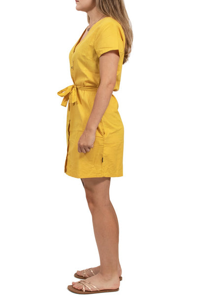 RVCA Landed Button-up Dress - Popcorn