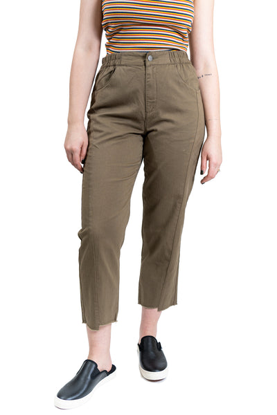 RVCA Out Going High Rise Cropped Trouser - Vintage Green (VGN)