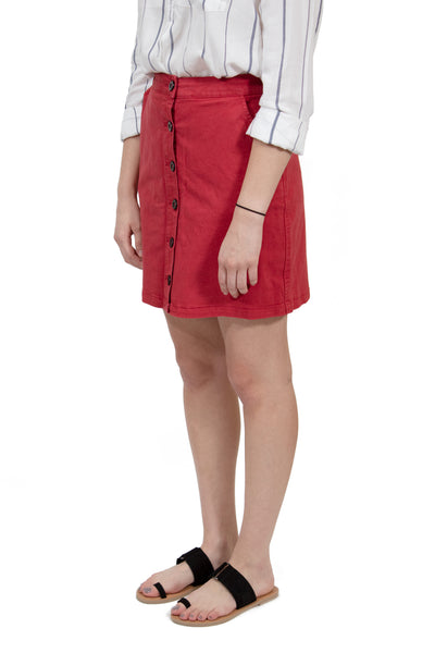RVCA Promises High Rise Button-Up Skirt - Burnt Red