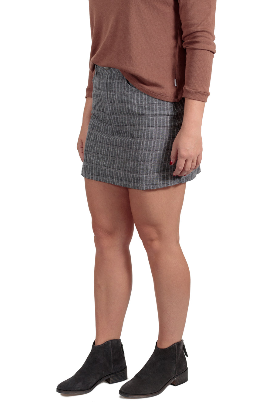 RVCA Rowdy Mini Plaid Skirt - Grey