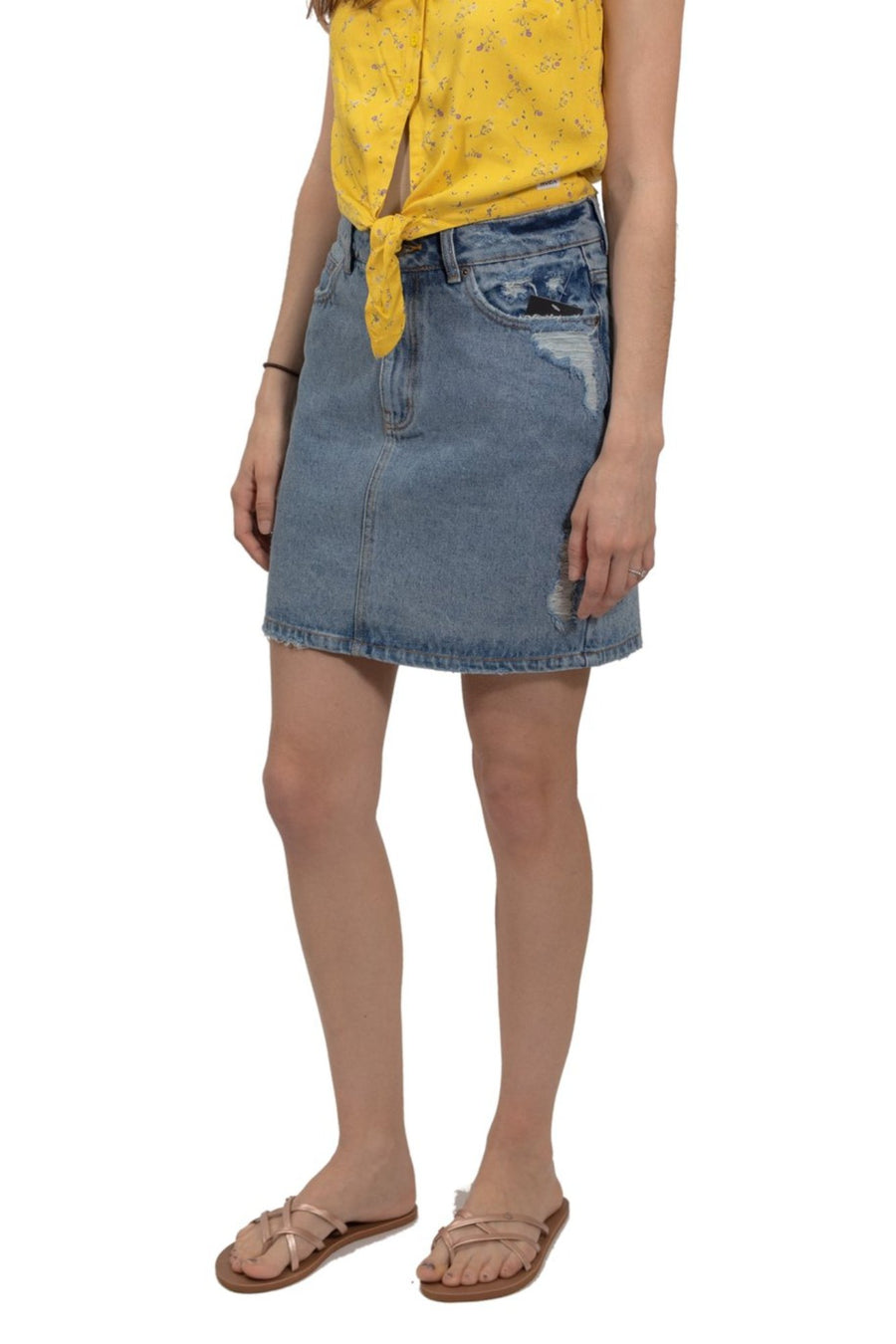 RVCA Jolt High Rise Skirt - Sky Blue