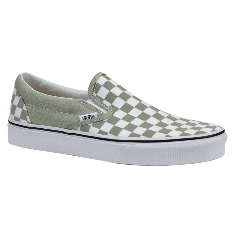 Vans Slip-on (Checkerboard) - Desert Sage/True White