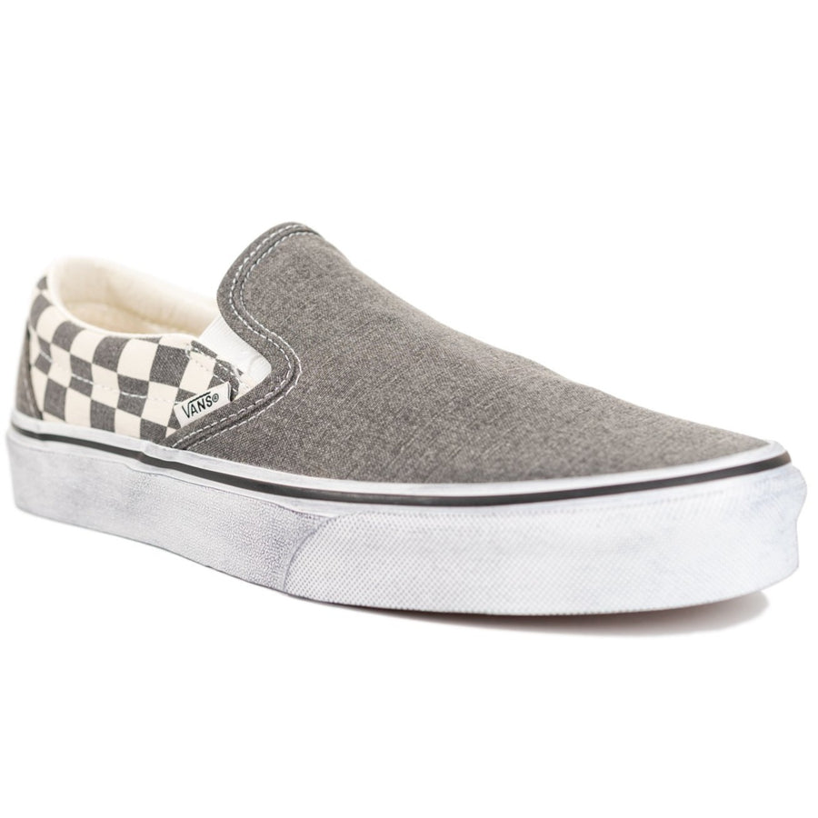 Vans Slip-on - (Washed) Asphalt/True White