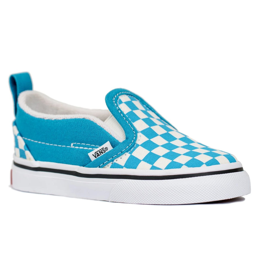 Vans Classic Slip-On V (Checkerboard) - Caribbean Blue/True White
