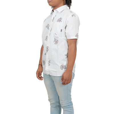 Vans Thank You Floral Button-Up Shirt - White/Thank You Floral
