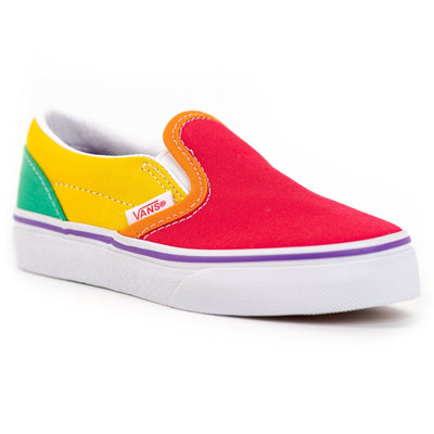 Vans Kids Slip-On - (Rainbow Color Block) Multi/True White