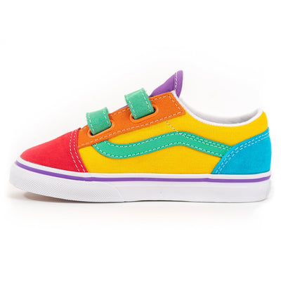 Vans Kids Old Skool V - (Rainbow Color Block) Multi/True White