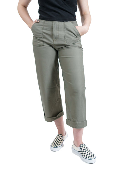 Volcom Army Whaler Wide Leg Pants - Army Green Combo