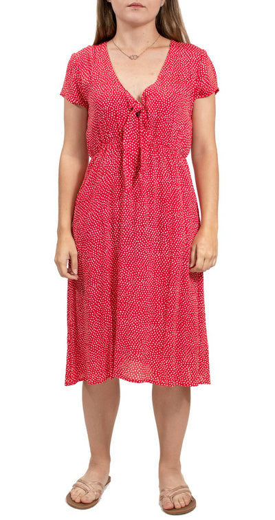 Volcom Boo Tie Short Sleeve Dress - Dot