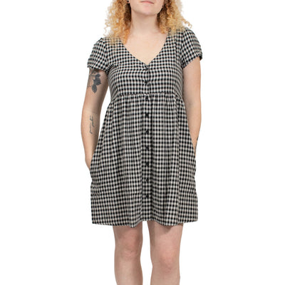Volcom Making Me Plaid Dress - Black Plaid