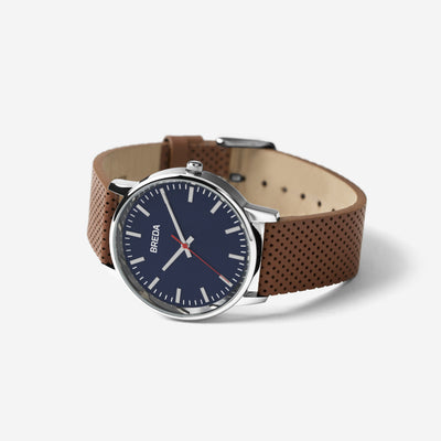 Breda Watch - Zapf (Perforated) - Silver/Brown (1725B)