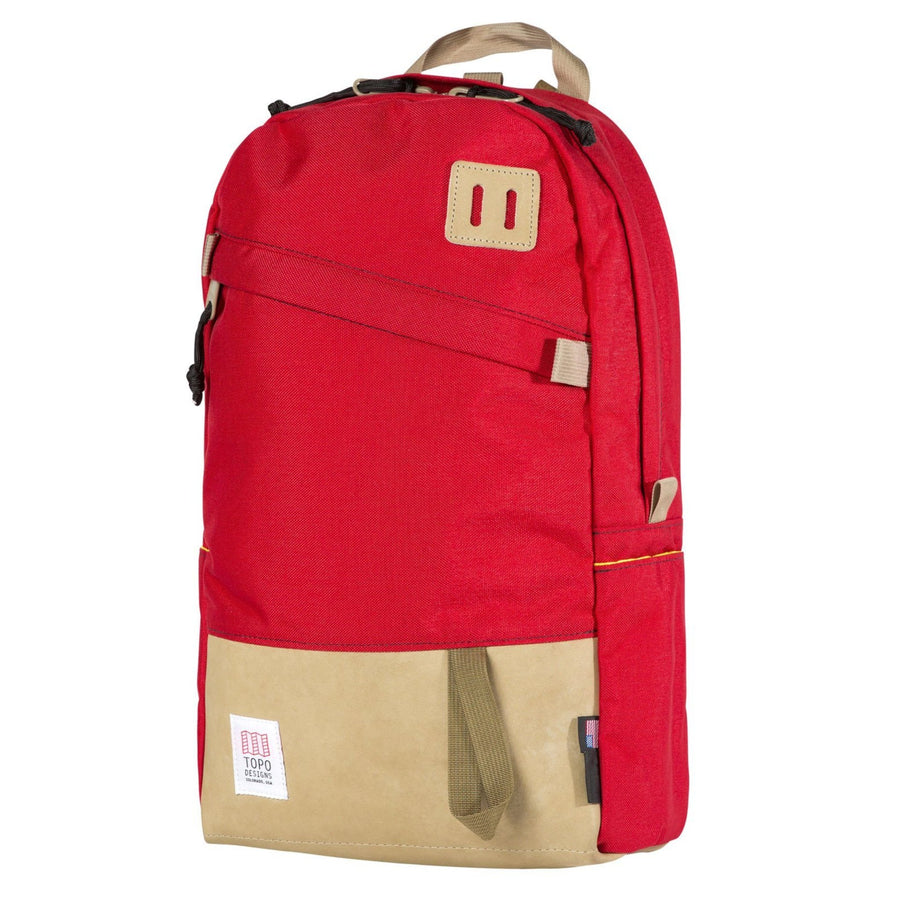 Topo Designs Daypack - Red/Khaki Leather