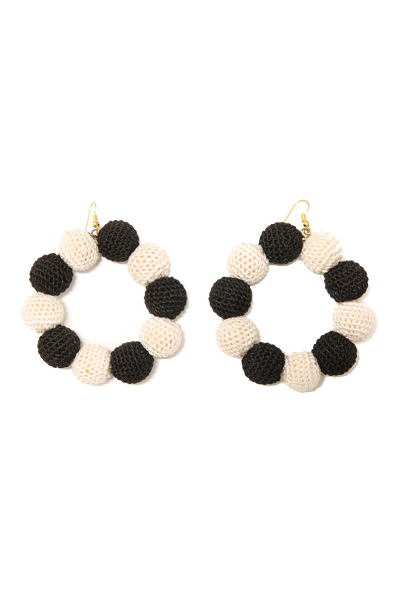 Crochet Dots Black & White Earrings - MISA Los Angeles