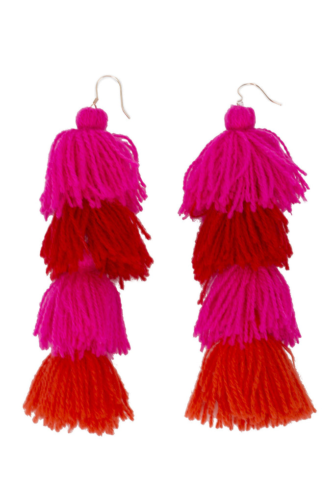 Berry Ombre Tassle Earrings - 4 tier