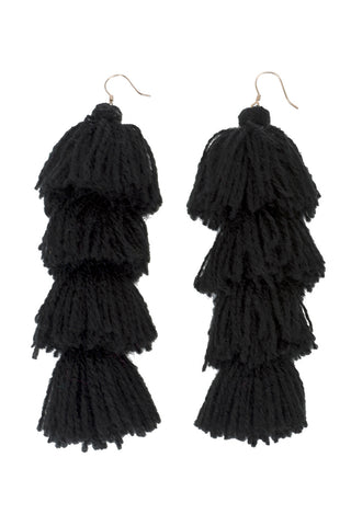 Carlotta Black Tassel Earrings - MISA Los Angeles
