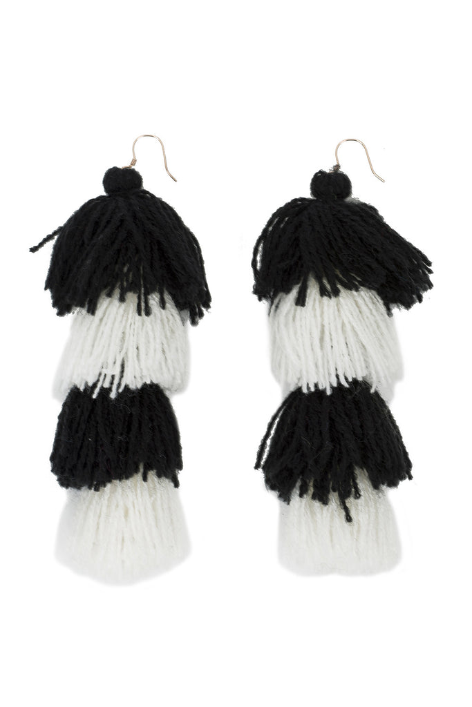 Black and White Tassle Earrings - 4 tier