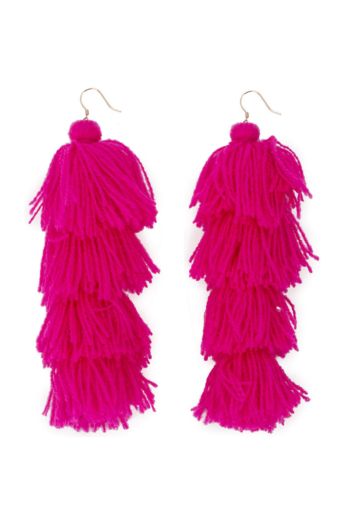 Fuschia Solid Tassle Earrings - 4 tier