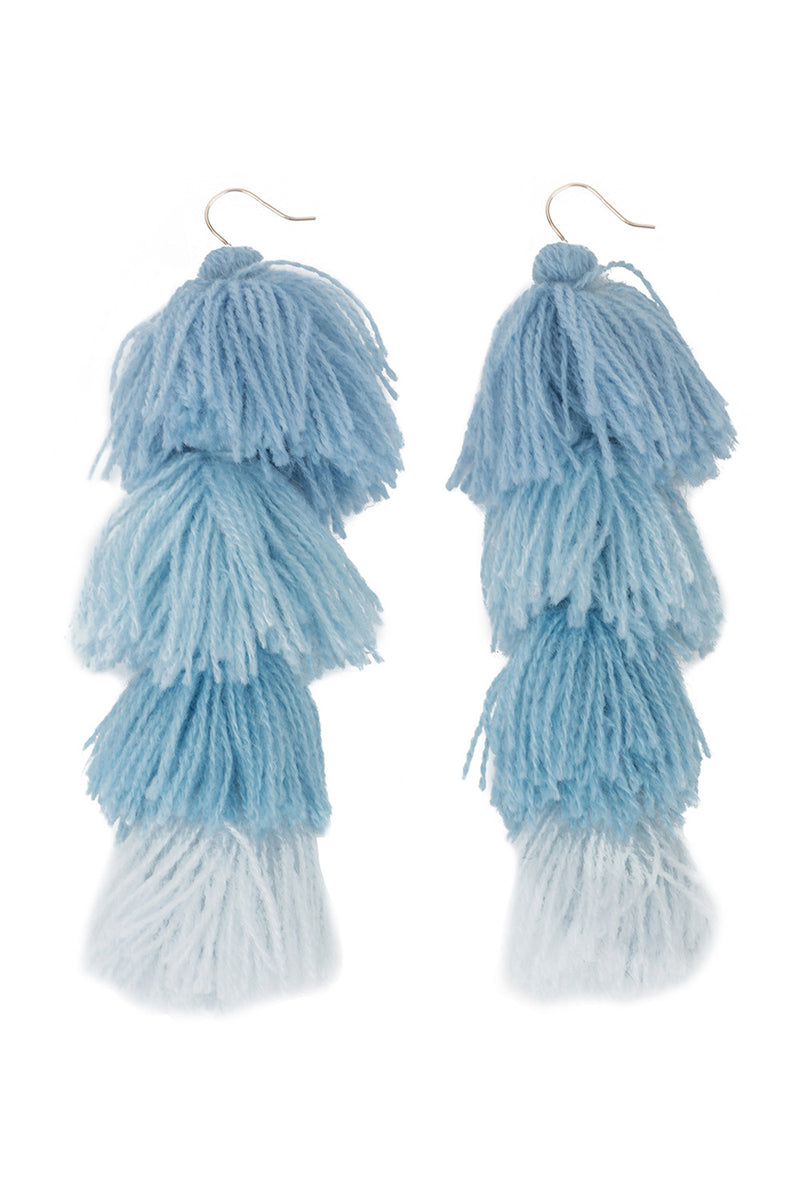 Carlotta Powder Blue Ombre Tassel Earrings