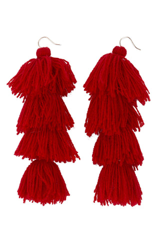 Carlotta Red Tassel Earrings - MISA Los Angeles