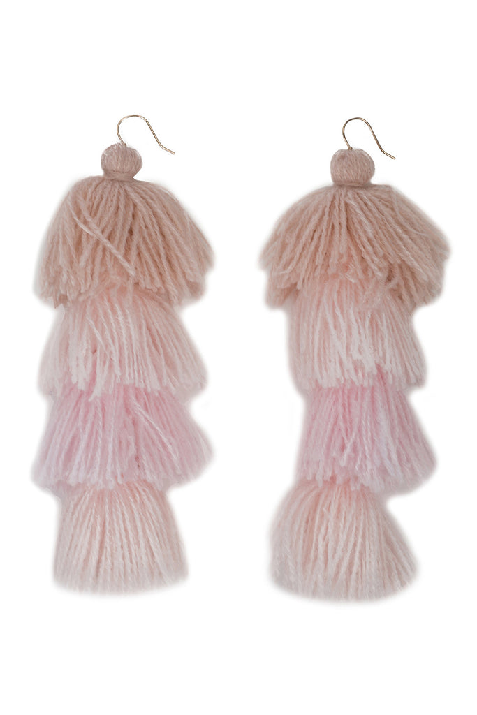 Rose Ombre Tassle Earrings - 4 tier
