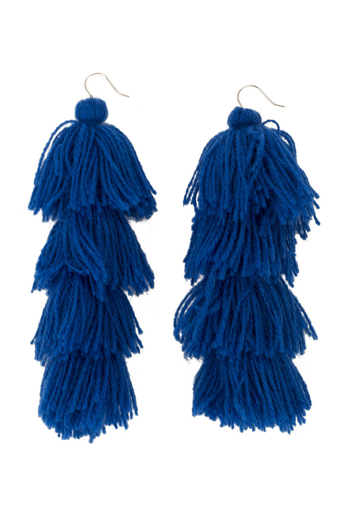 Royal Blue Solid Tassle Earrings - 4 tier